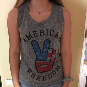 Tops - American flag peace sign tank